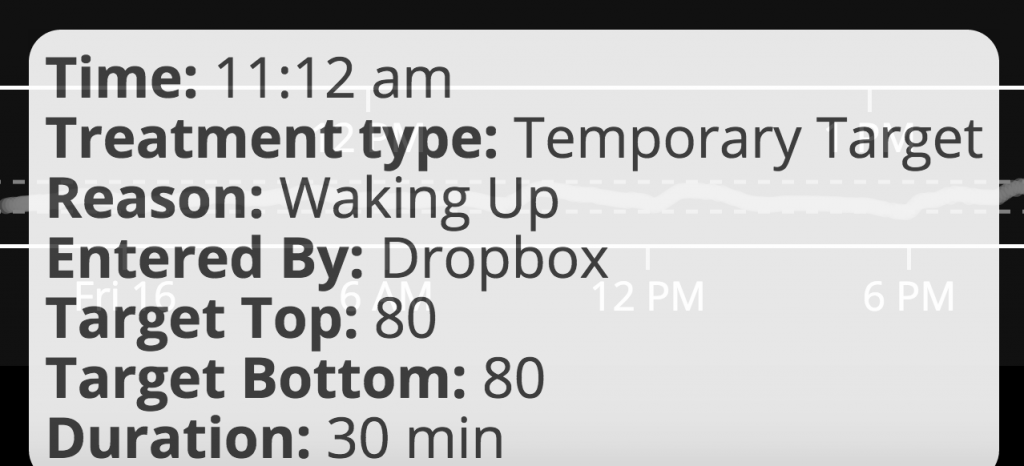 "First ""waking up"" mode in #OpenAPS automation success"
