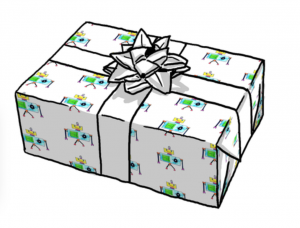 CGM robot giftwrap preview! available on Spoonflower as fabric, gift wrap/wrapping paper, or wallpaper