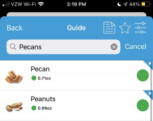 Example of Monash's app showing the search result with peanuts and pecans